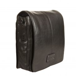 Мужская сумка планшет из натуральной кожи с широким клапаном на магните от Gianni Conti, арт. 1132313 black