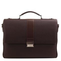Стильный мужской портфель с одним отделением из натуральной кожи коричневого цвета от Fiato, арт. м91397-d75476