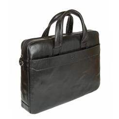 Черная мужская сумка для документов, непритязательный дизайн, деловой стиль от Sergio Belotti, арт. 9485 milano black