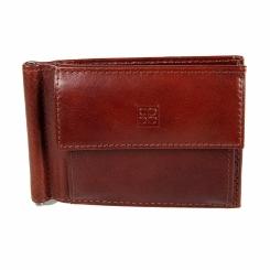 Коричневый зажим для денег из натуральной кожи с внешним карманом от Sergio Belotti, арт. 2322 milano brown