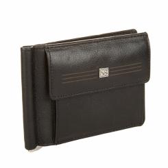 Черный зажим для денег из натуральной кожи с внешним карманом от Sergio Belotti, арт. 2322 west black