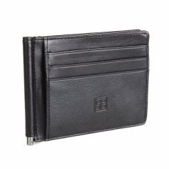 Мужской кожаный зажим для денег с карманами под пластиковые карты от Sergio Belotti, арт. 2342 milano black