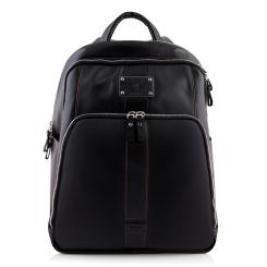 Большой мужской рюкзак из мягкой кожи с накладным вместительным карманом от Versado, арт. VD015 black