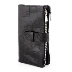 Стильный мужской клатч из текстурированной натуральной кожи, с застежкой на ремешке от Versado, арт. VD033 black stone