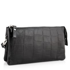 Кожаный клатч для мужчин изготовленный из натуральной кожи с тиснением от Versado, арт. VD035 black stone