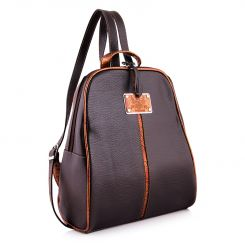 Кожаный рюкзак темно-коричневого цвета с тонкими светло-коричневыми вставками от Versado, арт. VD093 dark brown