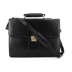 Деловой мужской кожаный портфель черного цвета на металлических ножках от Visconti, арт. Warwick 01775 Black
