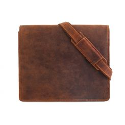 Коричневая кожаная мужская сумка через плечо среднего размера от Visconti, арт. Harvard 16025 oil tan
