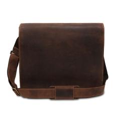 Большая удобная кожаная мужская сумка через плечо для ноутбука 15,6 от Visconti, арт. Harvard 16054 Oil Tan