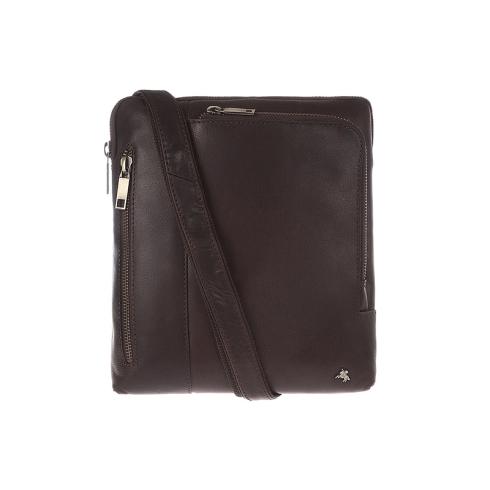 Коричневая мужская кожаная сумка планшет, подходит для переноски iPad от Visconti, арт. Roy ML20 (M) Brown