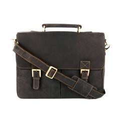 Коричневый мужской кожаный портфель со стильными застежками и красивой ручкой от Visconti, арт. Berlin 18716 oil brown