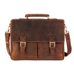 Мужской портфель из промасленной натуральной кожи для бумаг, документов и ноутбука 15,6 от Visconti, арт. Berlin 18716 oil tan