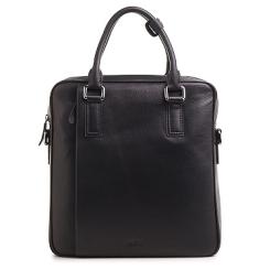 Вертикальная деловая мужская сумка из натуральной кожи черного цвета под документы А4 от Fiato, арт. м13401
