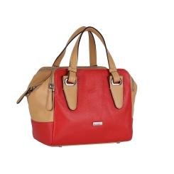 Женская кожаная сумка с одним отделением и съемным плечевым ремнем от Leo Ventoni, арт. 23004248 rosso/tan
