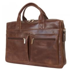 Мужская кожаная деловая сумка коричневого цвета для ноутбука и документов от Carlo Gattini, арт. 1007-16