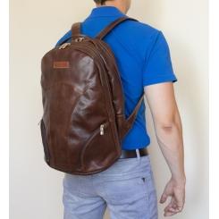 Большой кожаный мужской городской рюкзак темно-терракотового цвета от Carlo Gattini, арт. 3039-94