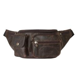 Стильная мужская поясная кожаная сумка с большими внешними карманами от Carlo Gattini, арт. 7002-04