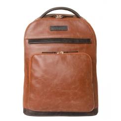 Большой кожаный рюкзак светло коричневого цвета на молнии в городском стиле от Carlo Gattini, арт. 3022-03