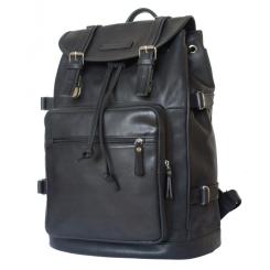 Большой мужской рюкзак из натуральной кожи черного цвета с ремешками утяжками от Carlo Gattini, арт. 3004-15