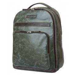 Большой кожаный рюкзак темно зеленого цвета на молнии в городском стиле от Carlo Gattini, арт. 3022-11
