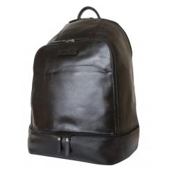 Черный мужской кожаный рюкзак большого размера со спинкой, выполненной из сетчатой ткани от Carlo Gattini, арт. 3025-01