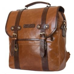 Коричневый мужской рюкзак из натуральной кожи с широким клапаном от Carlo Gattini, арт. 3005-08