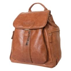 Стильный женский кожаный рюкзак коричневого цвета с клапаном на ремешке от Carlo Gattini, арт. 3008-22