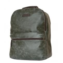 Темно зеленый мужской кожаный рюкзак большого размера с коричневыми лямками от Carlo Gattini, арт. 3009-11