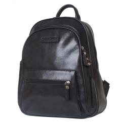 Женский рюкзак из натуральной кожи черного цвета с восковым покрытием от Carlo Gattini, арт. 3013-20