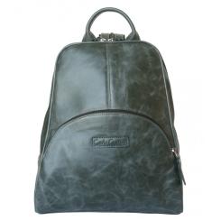 Женский рюкзак из натуральной темно-зеленой кожи с эффектом потертости от Carlo Gattini, арт. 3014-11