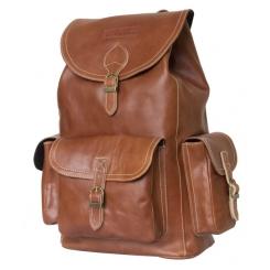 Женский кожаный рюкзак коньячного цвета с тремя рельефными карманами от Carlo Gattini, арт. 3016-03