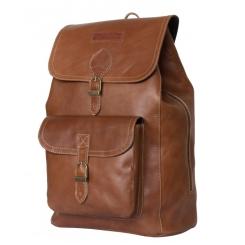 Мужской кожаный рюкзак с отделом на молнии и широким клапаном с ремешком от Carlo Gattini, арт. 3021-03