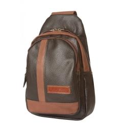 Мужской кожаный рюкзак темно коричневого цвета с лямкой для ношения через плечо от Carlo Gattini, арт. 3029-04