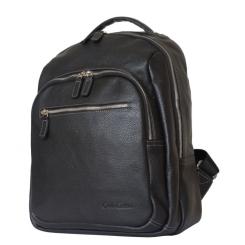 Черный кожаный рюкзак с несколькими внешними карманами от Carlo Gattini, арт. 3038-01
