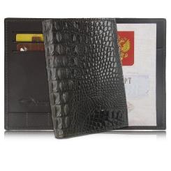 Черная обложка для паспорта, выполненная из натуральной кожи крокодила от Quarro, арт. AR-054