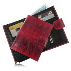 Красная обложка для документов с узким клапаном и кнопкой от Quarro, арт. AN-044