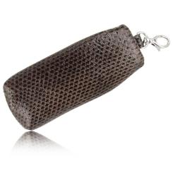 Стильная ключница из натуральной кожи морской змеи коричневого цвета от Quarro, арт. AN-092