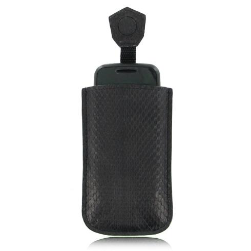 Черный чехол для телефона из натуральной кожи змеи от Quarro, арт. AP-056