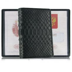 Черная раскладная обложка для паспорта из натуральной кожи питона от Quarro, арт. AP-060