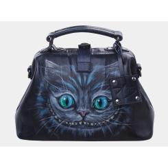 Женская дизайнерская сумка с рисунком, выполнена из натуральной кожи от Alexander TS, арт. «Чешир»