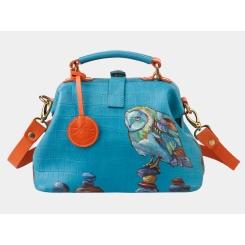 Дизайнерская синяя сумка с рисунком и тиснением под рептилию от Alexander TS, арт. «Даймондс»