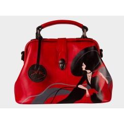 Дизайнерская женская сумка из натуральной кожи со стильным рисунком от Alexander TS, арт. «Дама в шляпе»