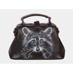 Роскошная дизайнерская женская сумка черного цвета с нарисованным енотом от Alexander TS, арт. «Енот»