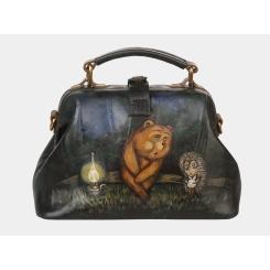 Дизайнерская женская кожаная сумка изумрудного оттенка с роскошным рисунком от Alexander TS, арт. «Ежик в тумане»