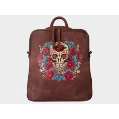 Эффектный дизайнерский кожаный рюкзак с оригинальным рисунком от Alexander TS, арт. «Харди»