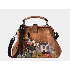 Стильная дизайнерская женская сумка с городским пейзажем, модель из натуральной кожи от Alexander TS, арт. «Иллюстрация город»