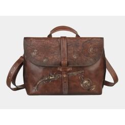 Дизайнерская мужская деловая сумка с из натуральной кожи коричневого цвета от Alexander TS, арт. «Карта сокровищ Б»