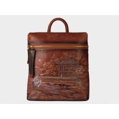 Дизайнерский рюкзак из коричневой натуральной кожи с рисунком от Alexander TS, арт. «Катхай»