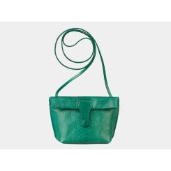 Компактная зеленая сумочка-клатч из натуральной кожи с тиснением от Alexander TS, арт. KB002 Green