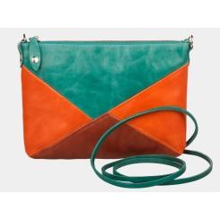 Зелено-оранжевый женский клатч с коричневой вставкой от Alexander TS, арт. KB003 green-orange